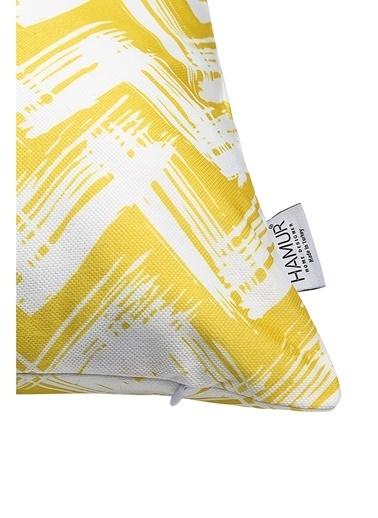 Hamur Dekoratif Yastık Kırlent Kılıfı Çift Taraflı Zigzag KR21 Sarı Sarı